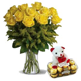 xpress Online Yellow roses in Vase, Teddy n Rocher Chocolates
