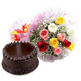 Send Online Half Kg Chocolate Cake n mix roses Bunch
