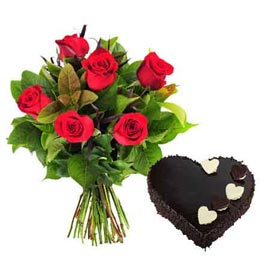 buy Online Chocolate Heart Cake n 6 Red roses Bunch