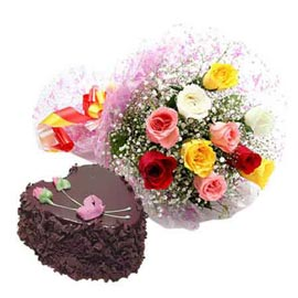 Send Same Day 1 Kg Chocolate Cake n mix roses Bunch