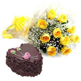 buy Online Chocolate Heart Cake n Yellow roses Basket