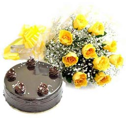 24 hrs Online Chocolate Truffle Cake n Yellow rose Bunch