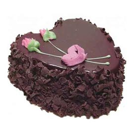 buy Online 1 Kg dark Chocolate Heart Cake
