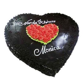 1 Kg Chocolate rosy Heart Midnight Cake Delivery
