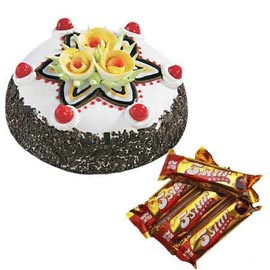 Send Online five star Chocolates n Black Forest Cake