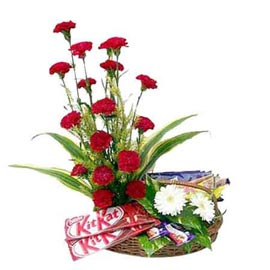 same day Online Assorted Chocolates n mix flowers Baskets