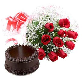 same day Online Chocolate Cake n Red roses