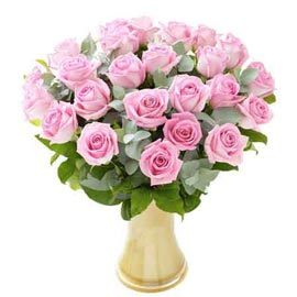 buy 20 Pink roses glass Vase Urgent Delivery