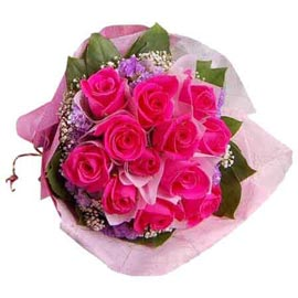 Send 12 Pink roses Pink paper Bunch Same Day Delivery