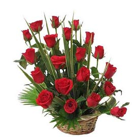 Send 20 Red roses cane Basket 24 hrs Delivery