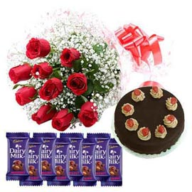 gift Online Red roses, Dairy Milk Chocolates n Cake