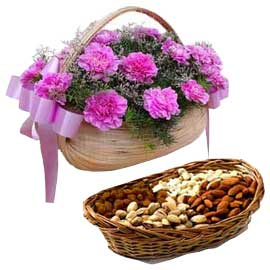 Send Online Pink carnations n Dry Fruit Hamper