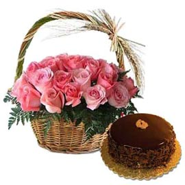 same day Online Chocolate Cake n Pink roses cane Basket