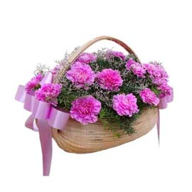 buy 15 dark Pink carnations cane Basket Same Day Delivery