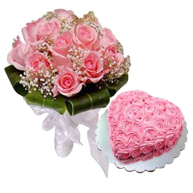 24 hrs Online rose Heart Cake n 15 Pink roses Bunch