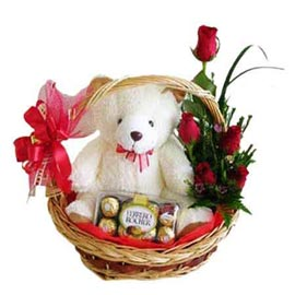 24 hrs Online 6 Red roses, cute Teddy n Ferrero Rocher Chocolates in Basket