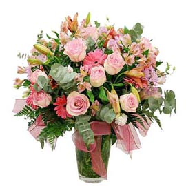 buy lilies gerberas n roses glass Vase designer Arrangement Delivery