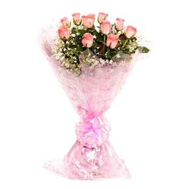 buy 12 Pink roses Bunch Same Day Delivery