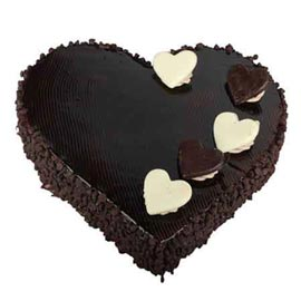 buy Online 1 Kg dutch Truffle Chocolate Heart Cake