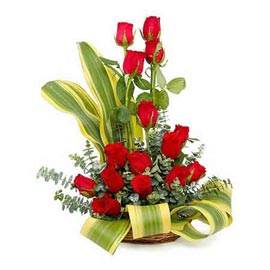 buy 15 Red roses cane one sided Basket Same Day Delivery