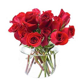 Send 12 Red roses glass Vase Same Day Delivery