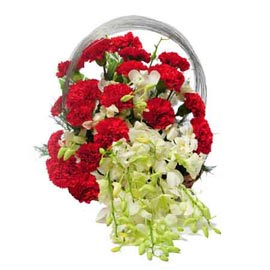 buy White orchids n Red carnations round Basket 24 hrs Delivery