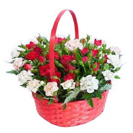 Send mix flowers round handle Basket Same Day Delivery