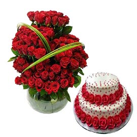 gift Online Vanilla Party Cake n 100 Red roses in glass Vase