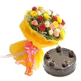 Send Online Half Kg Chocolate Cake n 25 mix roses Bunch