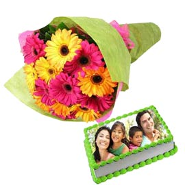buy Online 1 Kg Photo Cake n mix flowers Bunch