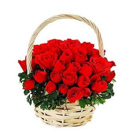 Send 50 Red roses cane Basket express Delivery