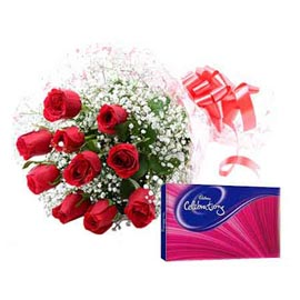 same day Online Red roses Bunch n Chocolates celebration pack