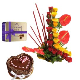 urgent Online mix flowers in Basket Chocolates n Truffle Cake