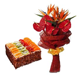 buy Online 1 Kg Fresh Fruit Cake n mix flowers Bunch