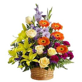 buy Yellow n Orange mix flowers round Basket Urgent Delivery
