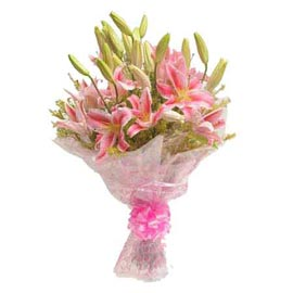 buy 6 Pink lilies Bunch Same Day Delivery