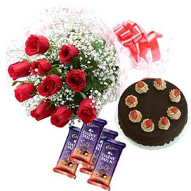 same day Online Red roses, cadbury Chocolates n Cake