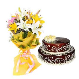 Send Online Chocolate Cake n mix lilies Bunch