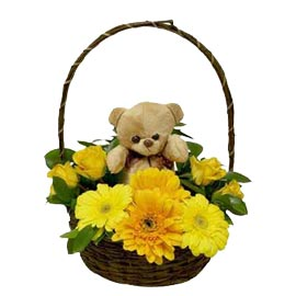 buy Online Yellow flowers n cute Teddy arranged in Basket