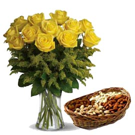 24 hrs Yellow roses n Assorted Dry Fruit cane Basket