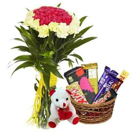 Send Online mix carnations Bunch, cute Teddy n Chocolaes Basket