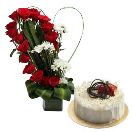 gift Online White Forest Cake n mix flowers in glass Vase