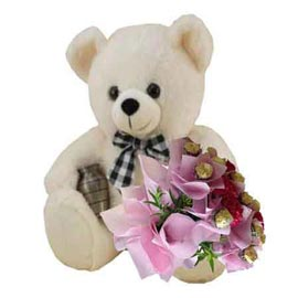 Send Online 1 feet Teddy n carnations n Rocher Chocolates Bunch