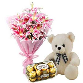 buy Online lilies Bunch, 1 feet Teddy n 16 pcs Ferrero Rocher pack