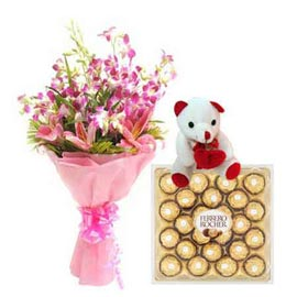 buy Midnight mix flowers Bunch, cute Teddy n Rocher Chocolates