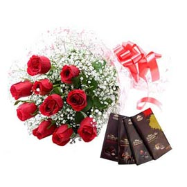 midnight Online Red roses Bunch n bourneville Chocolates