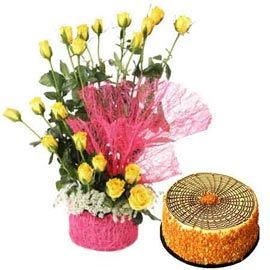 buy Online Butter Scotch n 20 Yellow roses in Basket