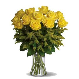 Send 12 Yellow roses glass Vase Midnight Delivery
