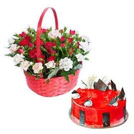 24 hrs Online Half Kg Strawberry Cake n mix flower Basket