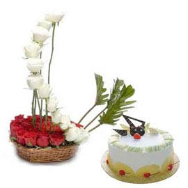 buy Online Pineapple Cake n mix roses Basket